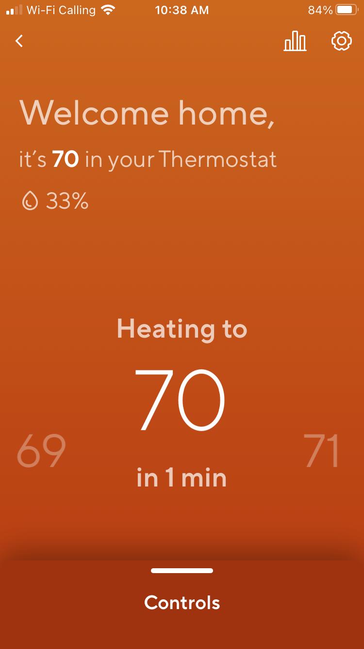 Wyze Thermostat Temp Screen