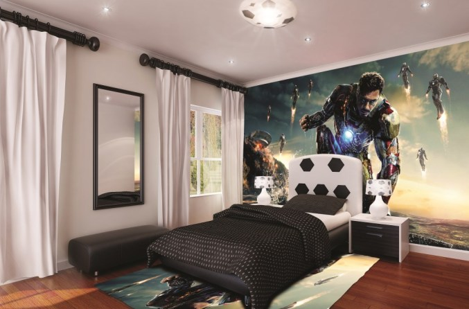 Wedowallpaper, Boys bedroom, Ironman 3 wallpaper, bespoke wallpaper, Marvel, printed wallpaper feature, bedroom interior