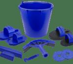poetsemmer gevuld met 10 poetsspullen blauw