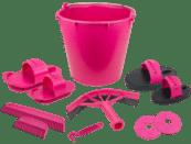 roze poetsemmer met 10 poetsspullen