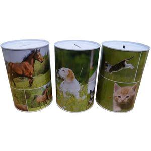 Spaarblik spaarpot dieren 15x10 cm verkrijgbaar met afbeeldingen van honden, katten en paarden