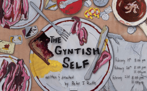 Poster of Gyntish Self with breakfast plate, utensils, toast, egg, bacon.