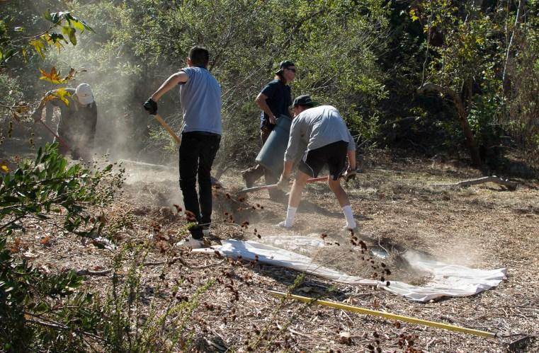Volunteers prepare monarch waystation garden bed.