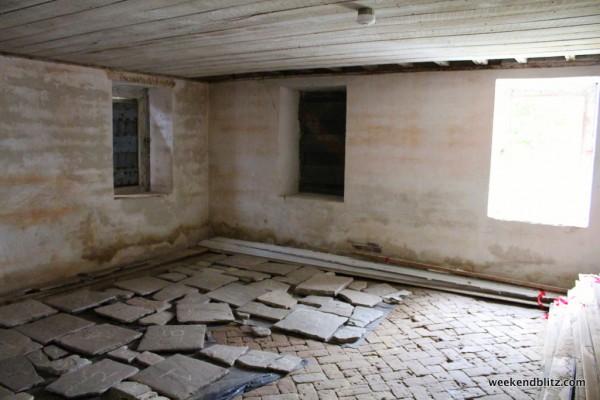 Original brick/tile floor on the ground floor