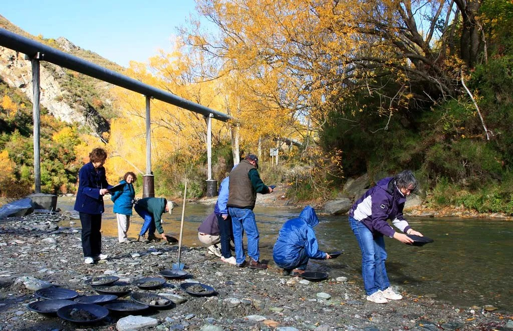 Group of people panning for gold in the Arrow river in Macetown, Queenstown, New Zealand