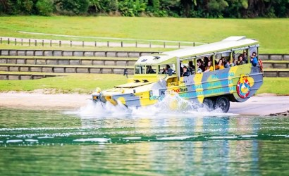 Rotorua duck tours splashdown into blue lake tikitapu in new zealand
