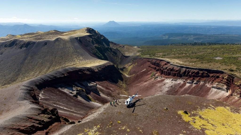 Volcanic Air Rotorua helicopter landing on Mt Tarawera Rotorua