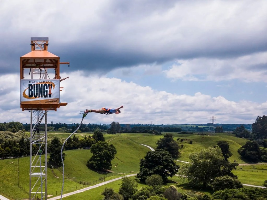 Person jumping off the bungy tower at Velocity Valley Rotorua