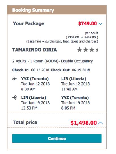 Tamarindo Vacation Package