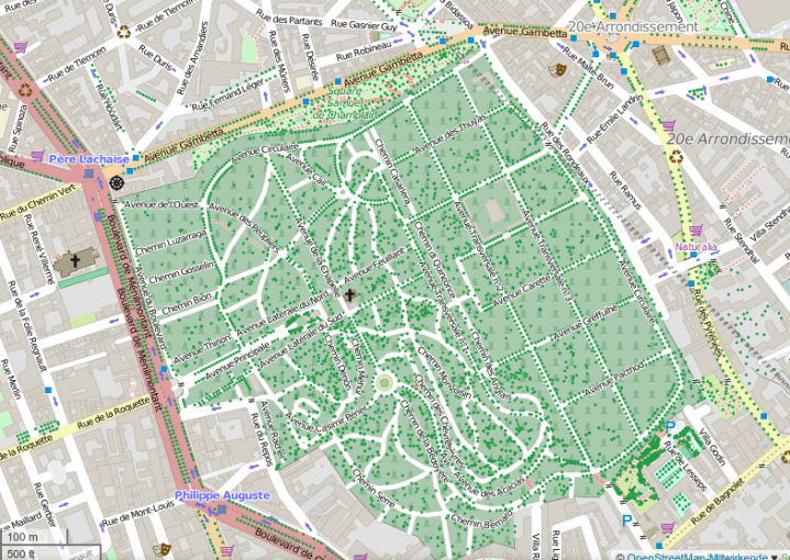 Père Lachaise cemetry in Paris - mapping party on 25th of January