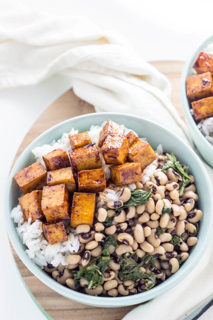 Smoky Baked Tofu Black Eye Pea Bowls