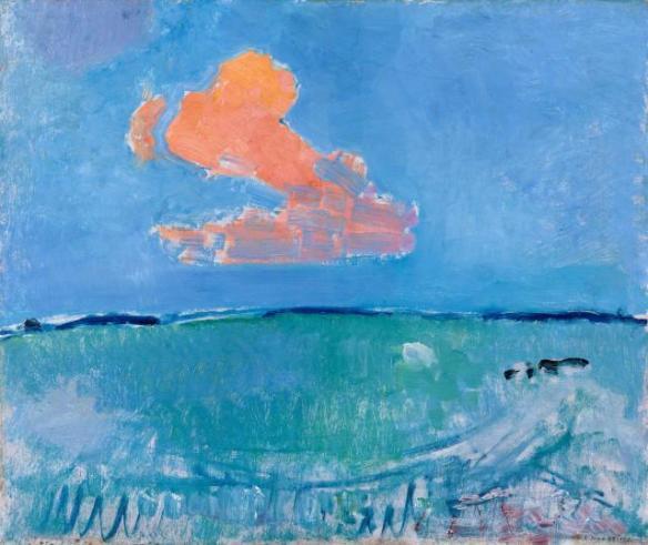 Schilderij van Piet Mondriaan van een rode wolk, teken van flow in je werk