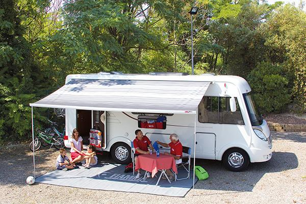 Fiamma F45L Awning Canopy 4.5m with Polar White Casing Blue Canopy - 4