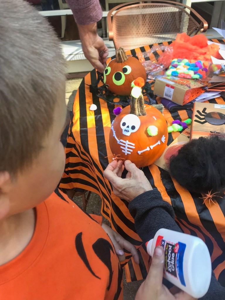 Pumpkin decorating: skeleton pumpkins