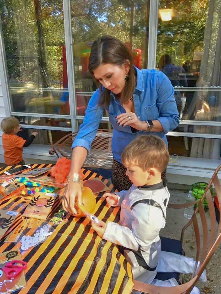 Our friends the Blaums decorating pumpkins