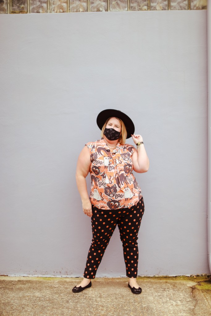 Unique Vintage Pants and Top with halloween mask