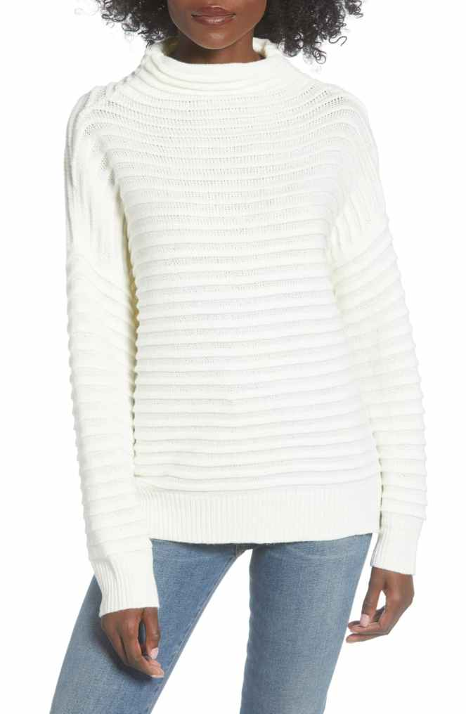 funnel neck white sweater