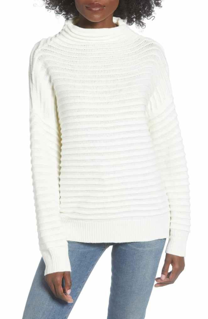 funnel neck white sweater