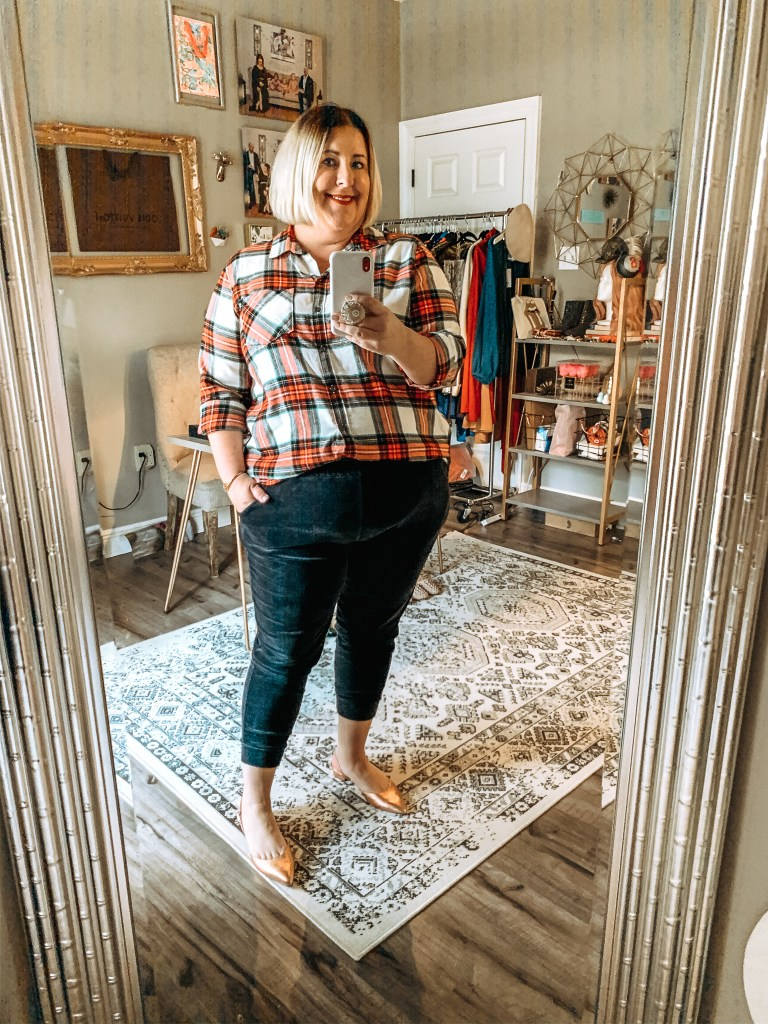 plaid top with velvet joggers