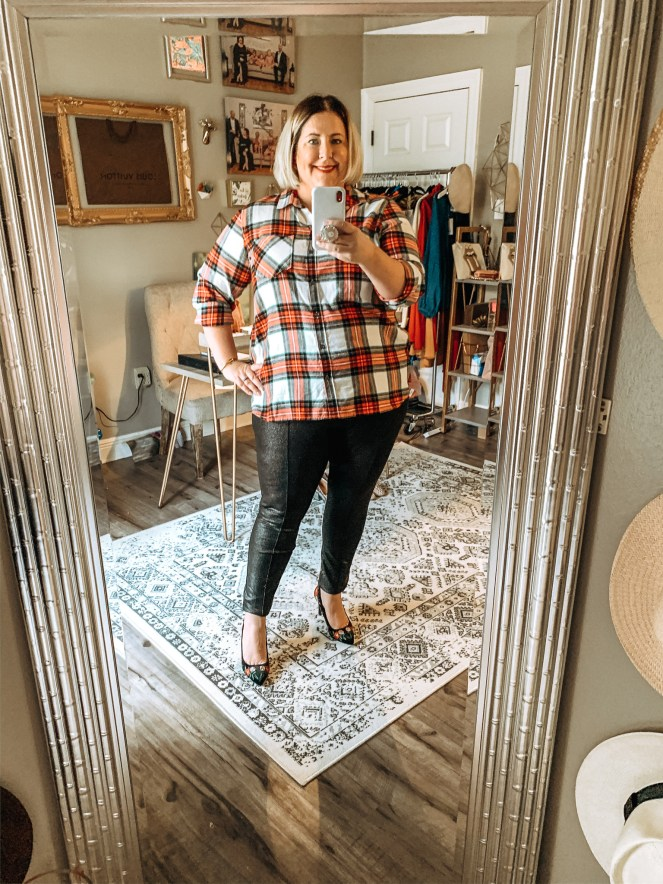 Plaid top with black pants