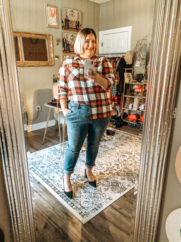 plaid top with jeans
