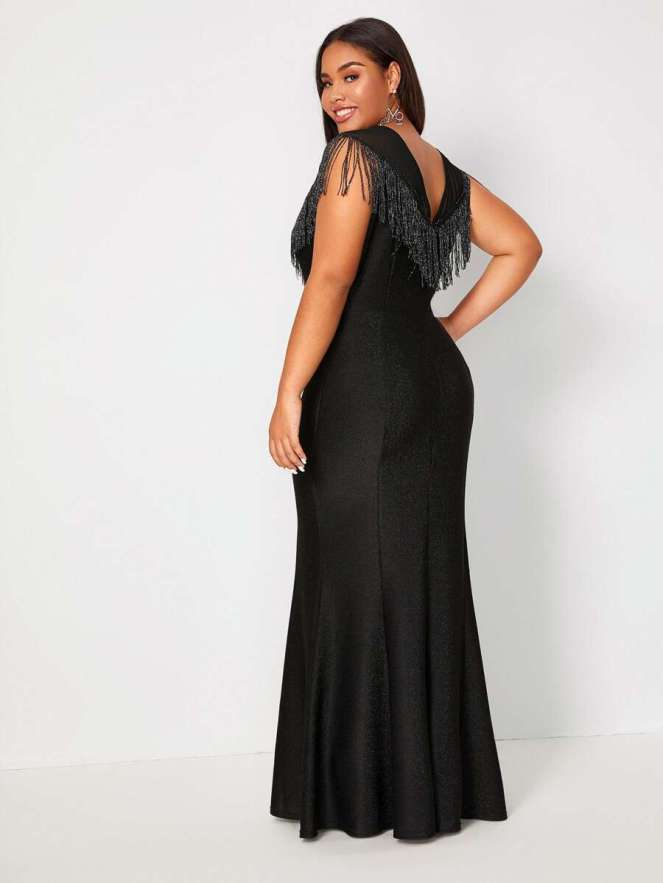 Shein Fringe Top Maxi Dress - Plus