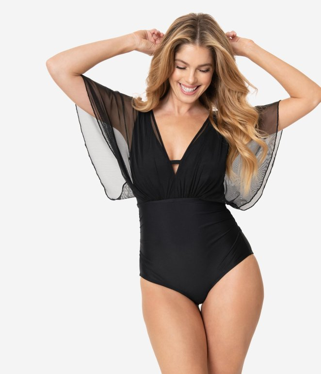 Unique Vintage - Black Batwing One Piece Swim / swimsuits with sleeves