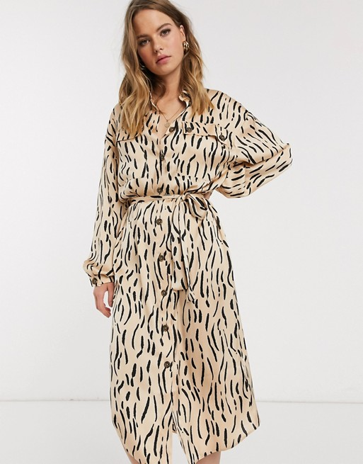 ASOS Animal Print Dress in Neutral