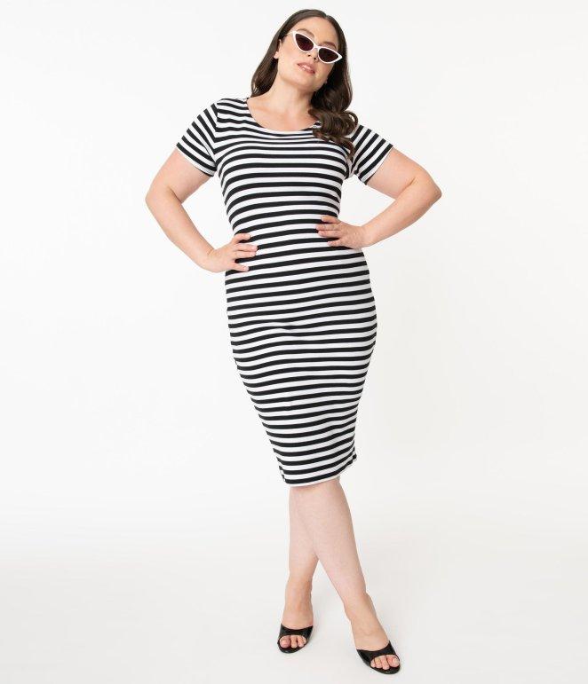 Unique Vintage Black and White Dress