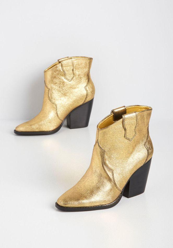 ModCloth Gold Cowboy boots