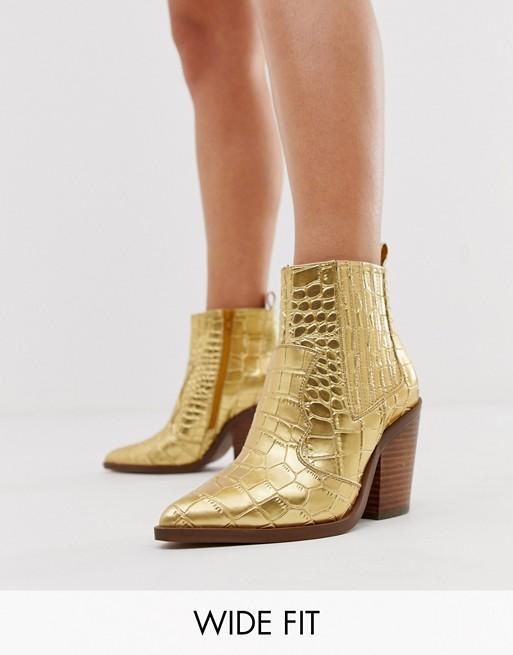 ASOS Gold Croc Booties