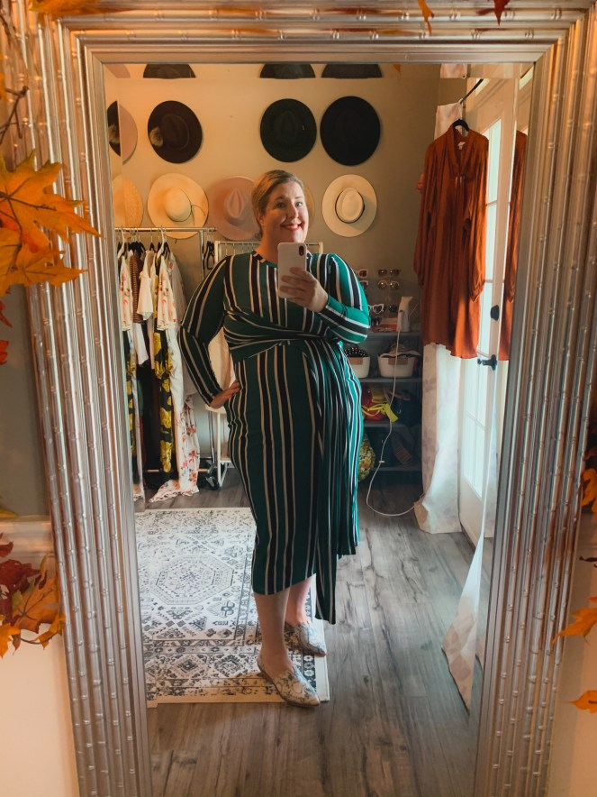 Tiffany in Eloquii Unlimited Green and black striped dress