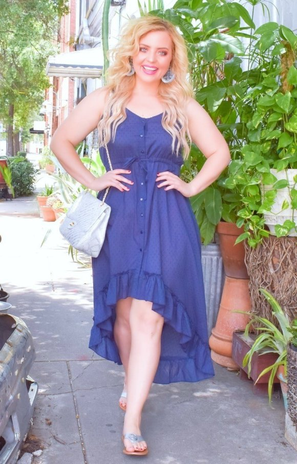 Perfectly Priscilla Blue high low dress