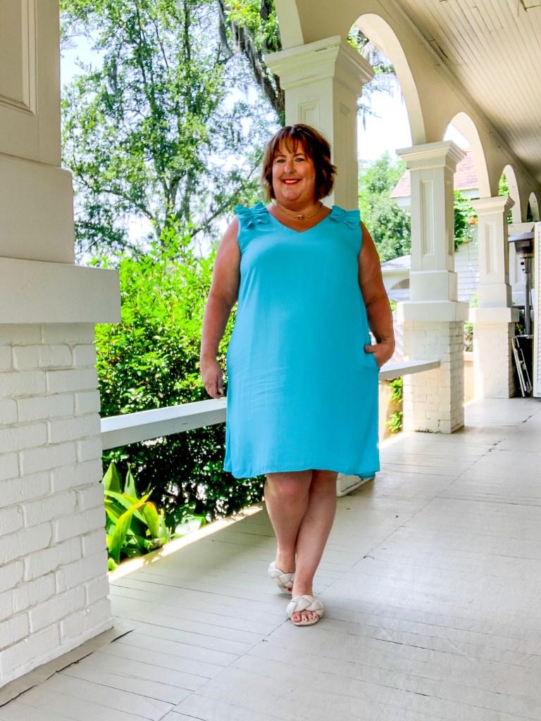 Blue ruffle shoulder dress - summer date night