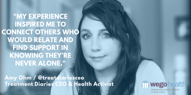 "Amy Ohm, Treatment Diaries CEO & Health Activist _ WEGO Health Feature Friday Patient Influencer ""_My experience inspired me to connect others who would relate and find support in knowing they're never alone._ we-1.png"