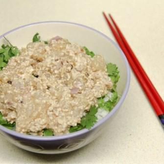 Hot rice, cilantro, and broom fish