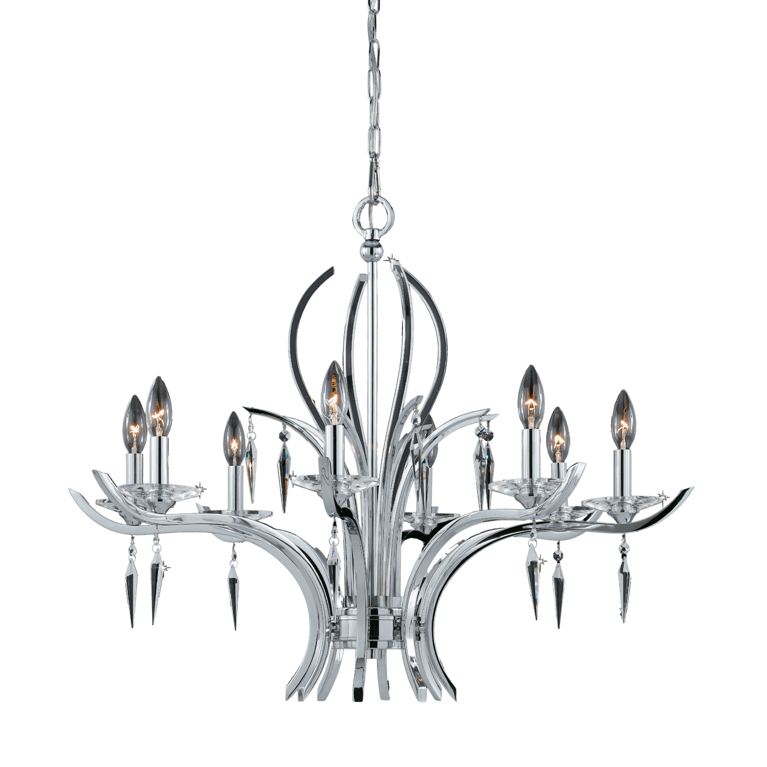 Lumenno Int Paris Collection 8 Light Chandelier In A Polished Chrome Finish Chrome Plated Finish