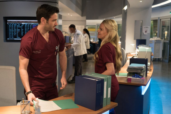 """CHICAGO MED -- """"Saints"""" Episode 107 -- Pictured: (l-r) Colin Donnell as Dr. Connor Rhodes, Julie Berman as Dr. Sam Zanetti -- (Photo by: Elizabeth Sisson/NBC)"""