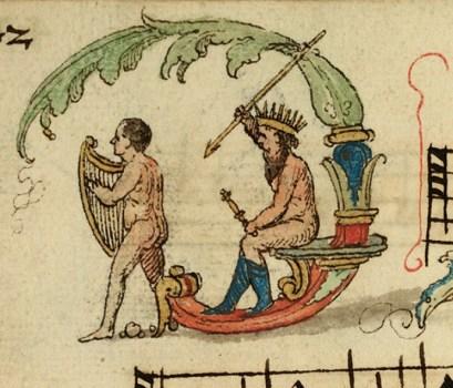 Inicjał D, Posejdon i harfa.