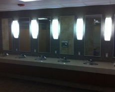 Sink area at the renovated 24 Hour Fitness