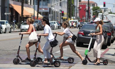 Electric Scooter Decals Placed On LA Sidewalks In Attempts To Keep Riders Off
