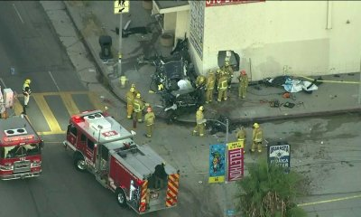 1 killed after car flips, slams into side of building in Pico-Robertson