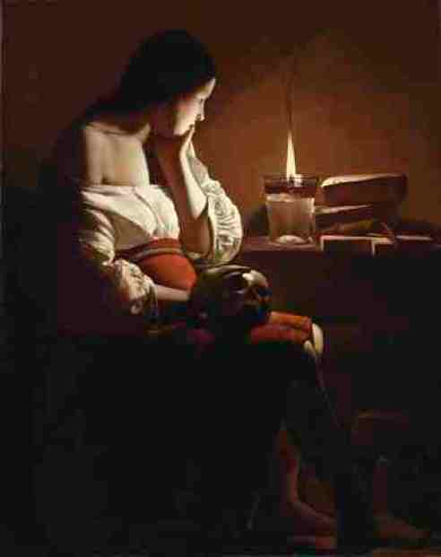 Georges de La Tour's, The Magdalen with the Smoking Flame. The Magdalen with the Smoking Flame Georges de La Tour (1593, Vic-sur-Seille-1652, Lunéville) France, circa 1635-37 Paintings Oil on canvas Canvas: 46 1/16 × 36 1/8 in. (117 × 91.76 cm) Frame: 57 1/4 × 47 1/2 × 4 1/2 in. (145.42 × 120.65 × 11.43 cm) Gift of The Ahmanson Foundation (M.77.73) European Painting Not currently on public view