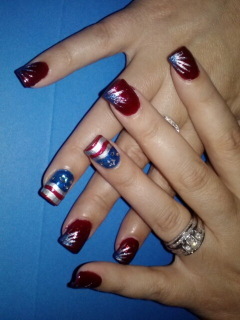Patriotic Stars And Stripes Nail Art On Acrylic Base I M Always In Love