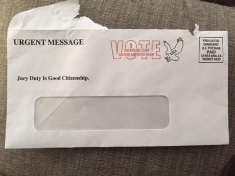 "Ettman campaign envelope with ""jury duty"" alert."