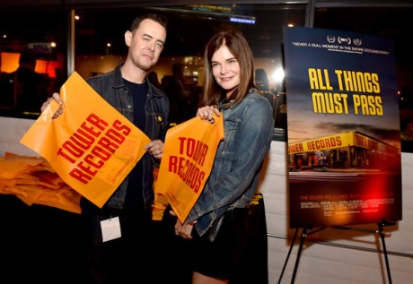 """Director Colin Hanks and actress Betsy Brandt at the after party for the premiere of Gravits Ventures' """"All Things Must Pass"""" at Tower Records on the Sunset Strip in West Hollywood on Thursday night. (photo courtesy of Kevin Winter, Getty Images North America)"""