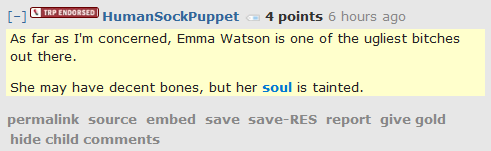 HumanSockPuppet 4 points 7 hours ago   As far as I'm concerned, Emma Watson is one of the ugliest bitches out there.  She may have decent bones, but her soul is tainted.