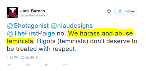 "Jack Barnes, ""who describes himself as a ""Proud MRA, Proud Anti-Feminist, GamerGate Supporter, Contributor to http://www.avoiceformen.com."""