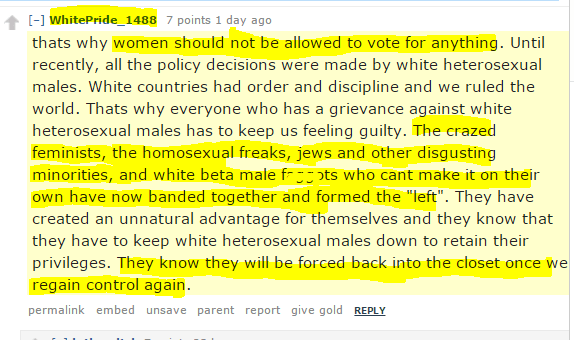 """women should not be allowed to vote for anything. Until recently, all the policy decisions were made by white heterosexual males. White countries had order and discipline and we ruled the world. Thats why everyone who has a grievance against white heterosexual males has to keep us feeling guilty. The crazed feminists, the homosexual freaks, jews and other disgusting minorities, and white beta male faggots who cant make it on their own have now banded together and formed the """"left"""". They have created an unnatural advantage for themselves and they know that they have to keep white heterosexual males down to retain their privileges. They know they will be forced back into the closet once we regain control again."""