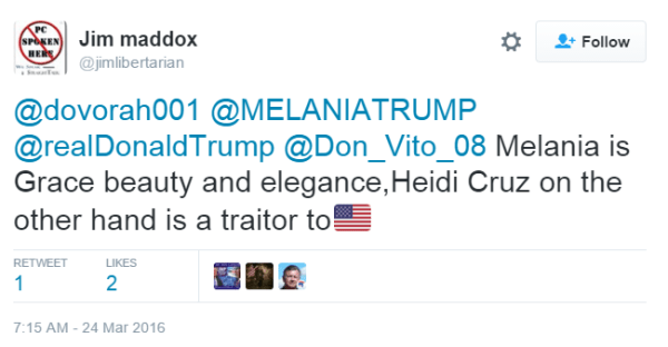 Jim maddox @jimlibertarian @dovorah001 @MELANIATRUMP @realDonaldTrump @Don_Vito_08 Melania is Grace beauty and elegance,Heidi Cruz on the other hand is a traitor to🇺🇸
